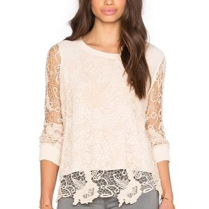 Free People Lace Knit Sweater